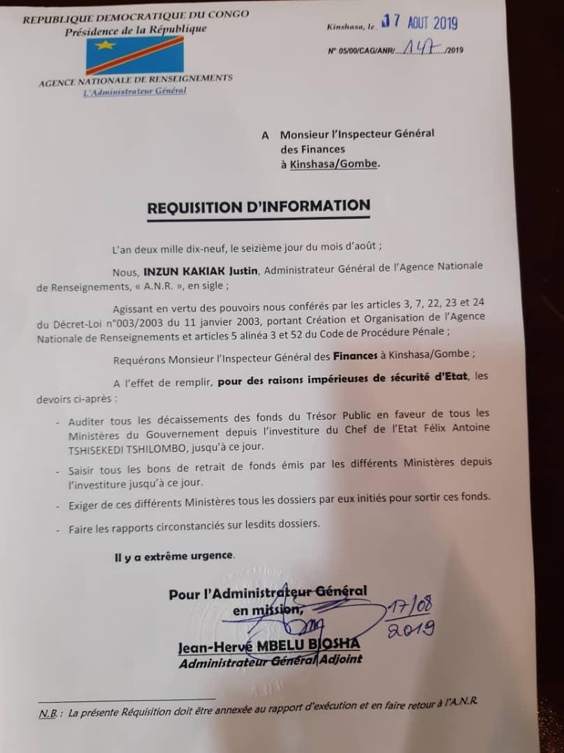 La lettre de l'ANR à l'inspecteur général des finances.