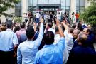 Devant le siège de l'Isie, à Tunis, le 2 août, lors de l'ouverture du dépôt des candidatures.