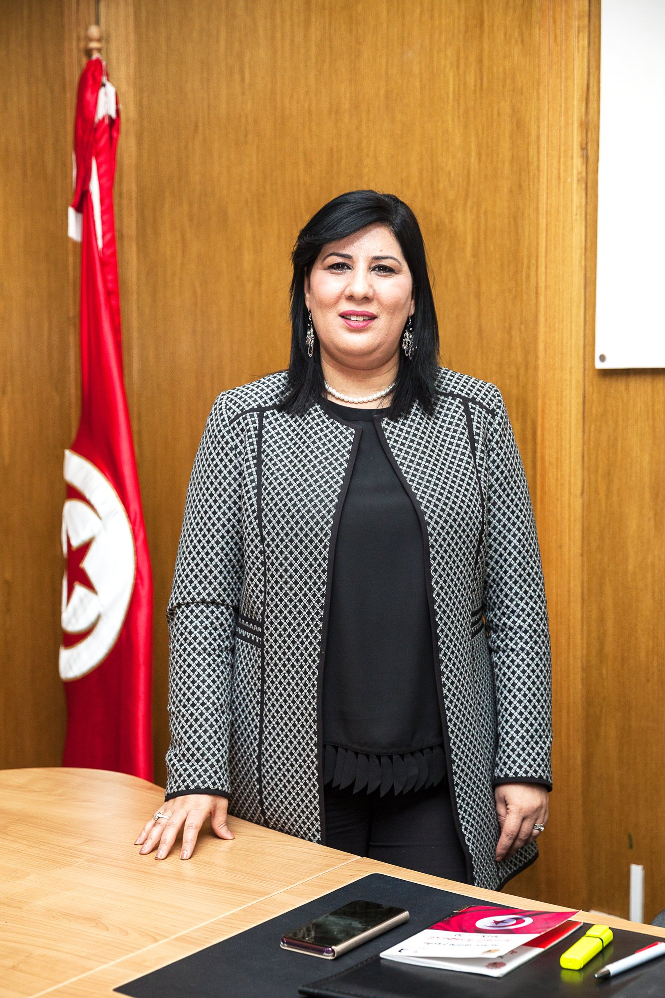 Tunisia, Tunis :Abir Moussi, the president of PARTI DESTROURIEN LIBRE (PDL) and ex member of RCD ( Ben Ali's Party), poses in her office on Montplaisir in 27 February 2019. © Ons Abid for JA