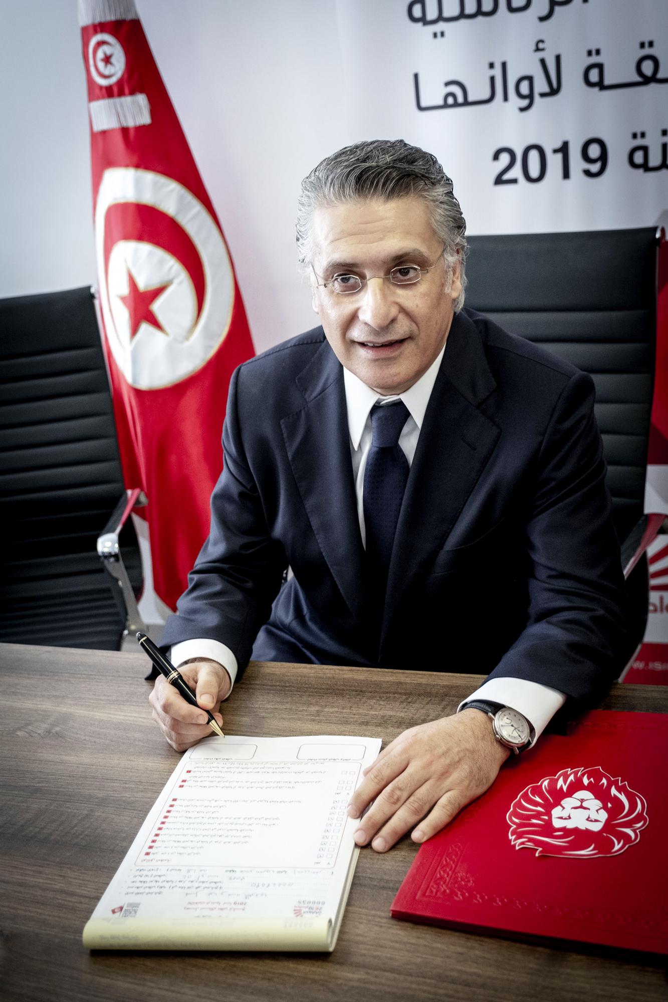 Nabil Karoui lors du dépôt de sa candidature à l'élection présidentielle, le 2 août 2019 à Tunis.