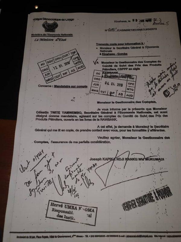 Dans ce document l'ancien ministre de l'Économie, Joseph Kapika, désigne deux de ses collaborateurs comme mandataire du compte