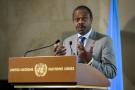 Oly Ilunga, alors ministre de la Santé de la RDC, le 15 juillet 2019 à Genève, en Suisse.