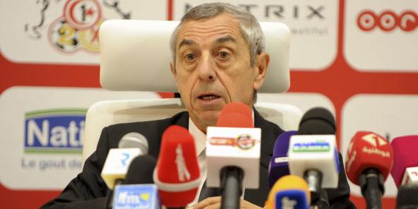 Le désormais ex-sélectionneur tunisien Alain Giresse, lors d'une conférence de presse organisée en décembre 2018 à Tunis.