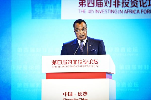 Le président Denis Sassou Nguesso, le 6septembre 2018, à Changsha (Chine), lors de la 4eédition de Invest in Africa. La 5eédition de ce forum coorganisé par la Banque mondiale et le gouvernement chinois se tiendra à Brazzaville du 10 au 12septembre.