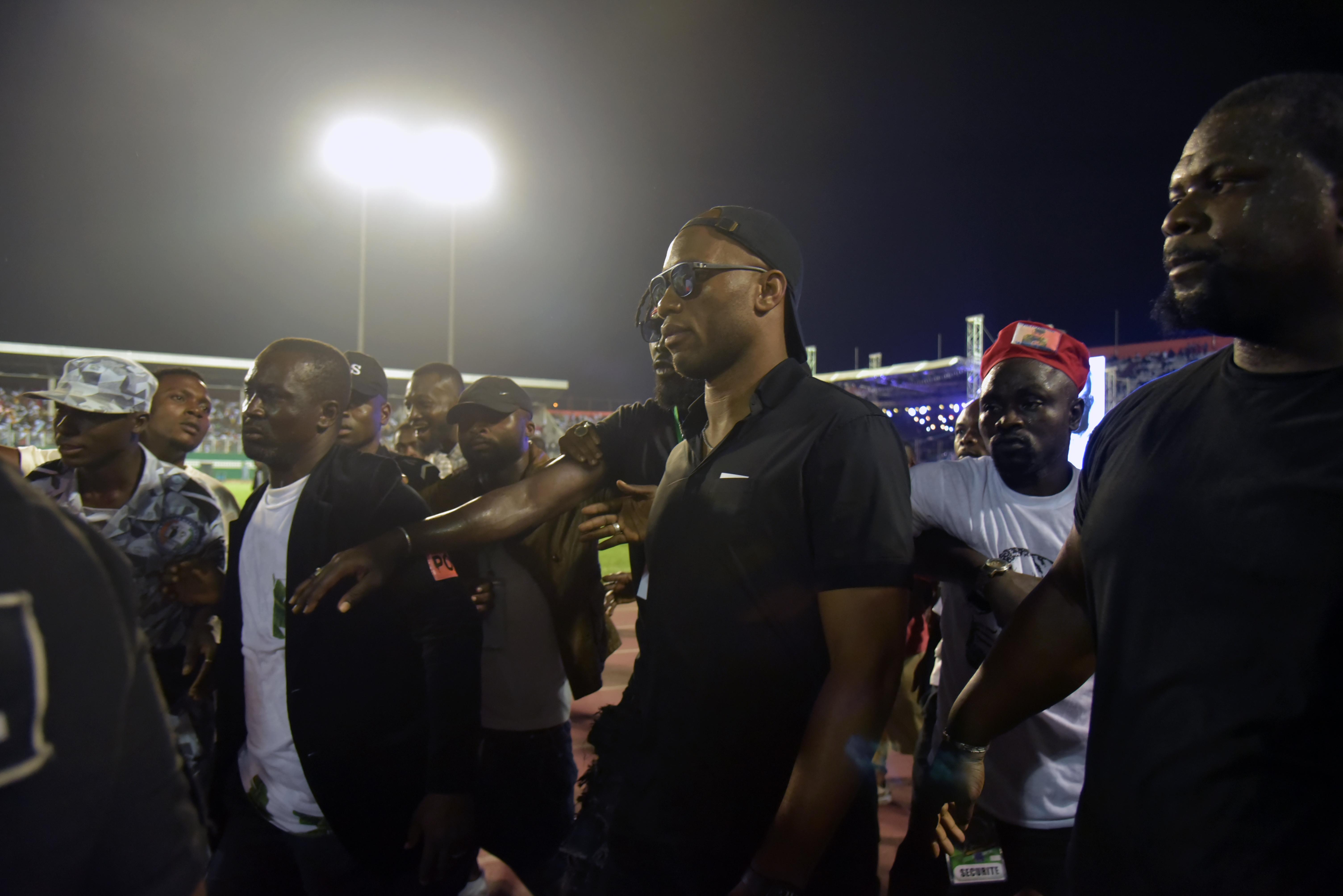 Didier Drogba, au stade Félix Houphouët-Boigny, le 31 août 2019, lors des funérailles de DJ Arafat.