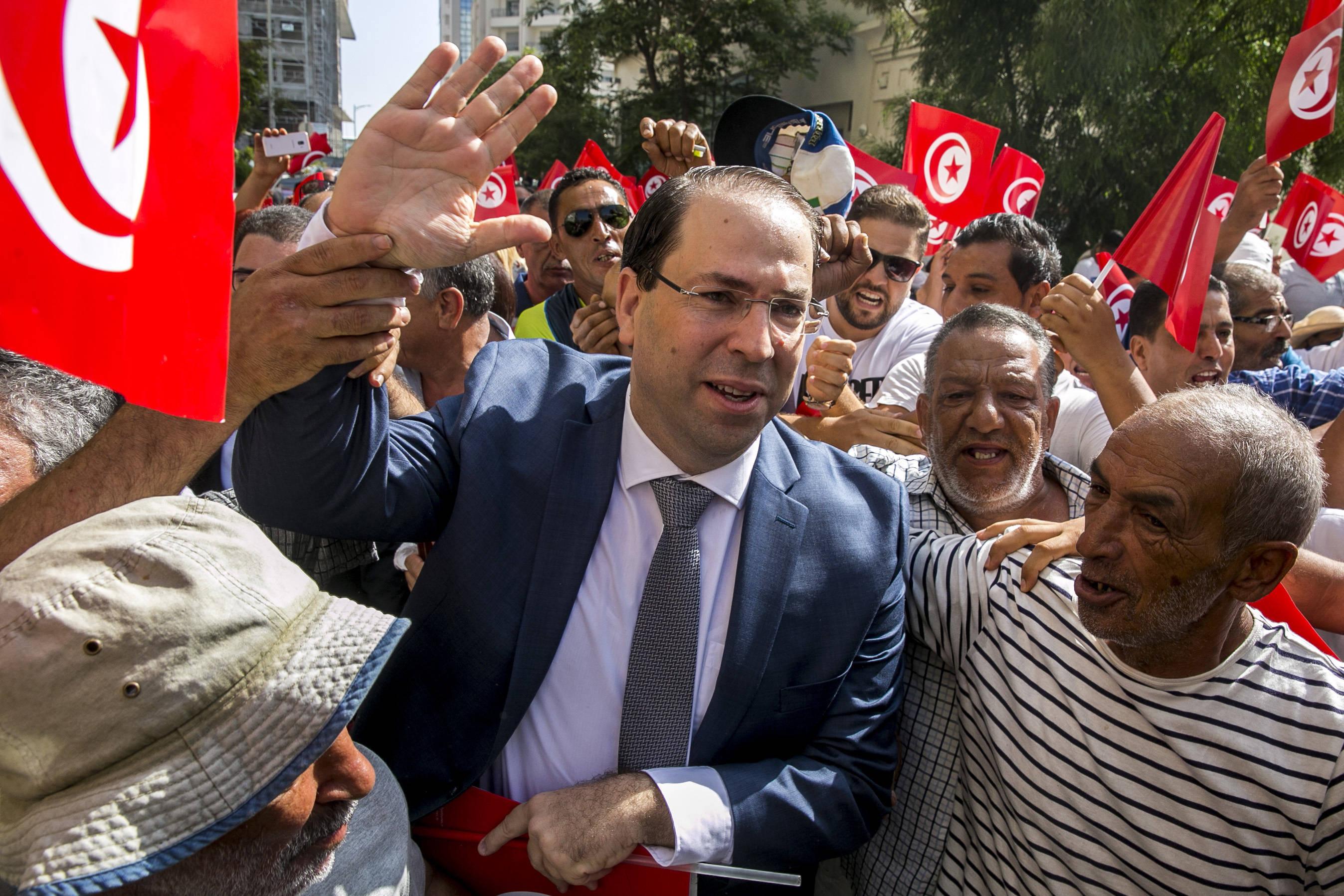 Le chef du gouvernement Youssef Chahed, le jour de son dépôt de candidature à l'élection présidentielle, vendredi 9 août 2019 à Tunis (image d'illustration).