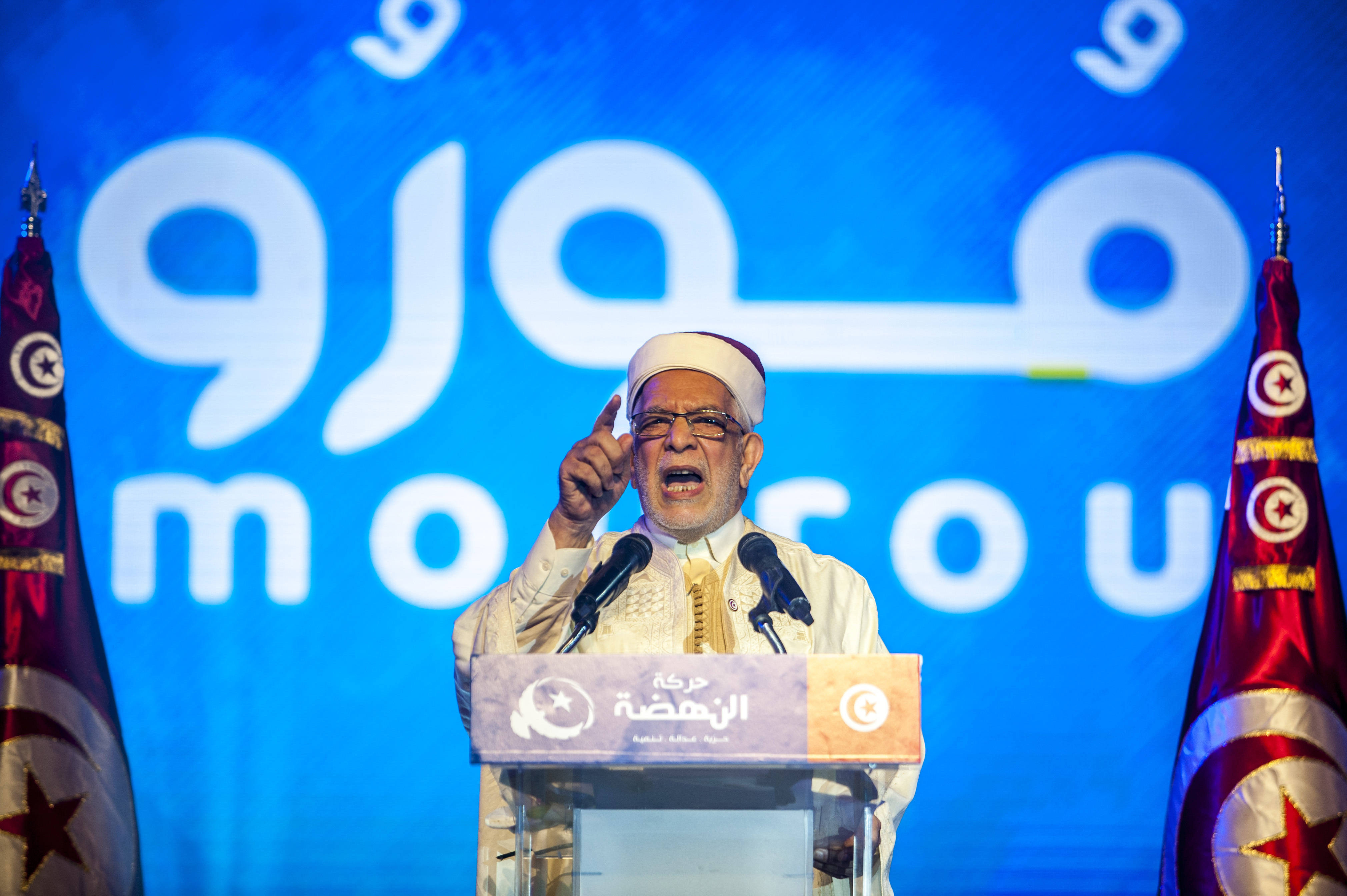 Abdelfattah Mourou, le candidat du parti islamiste Ennahdha à l'élection présidentielle, vendredi 30 août 2019 lors d'un meeting à Tunis.