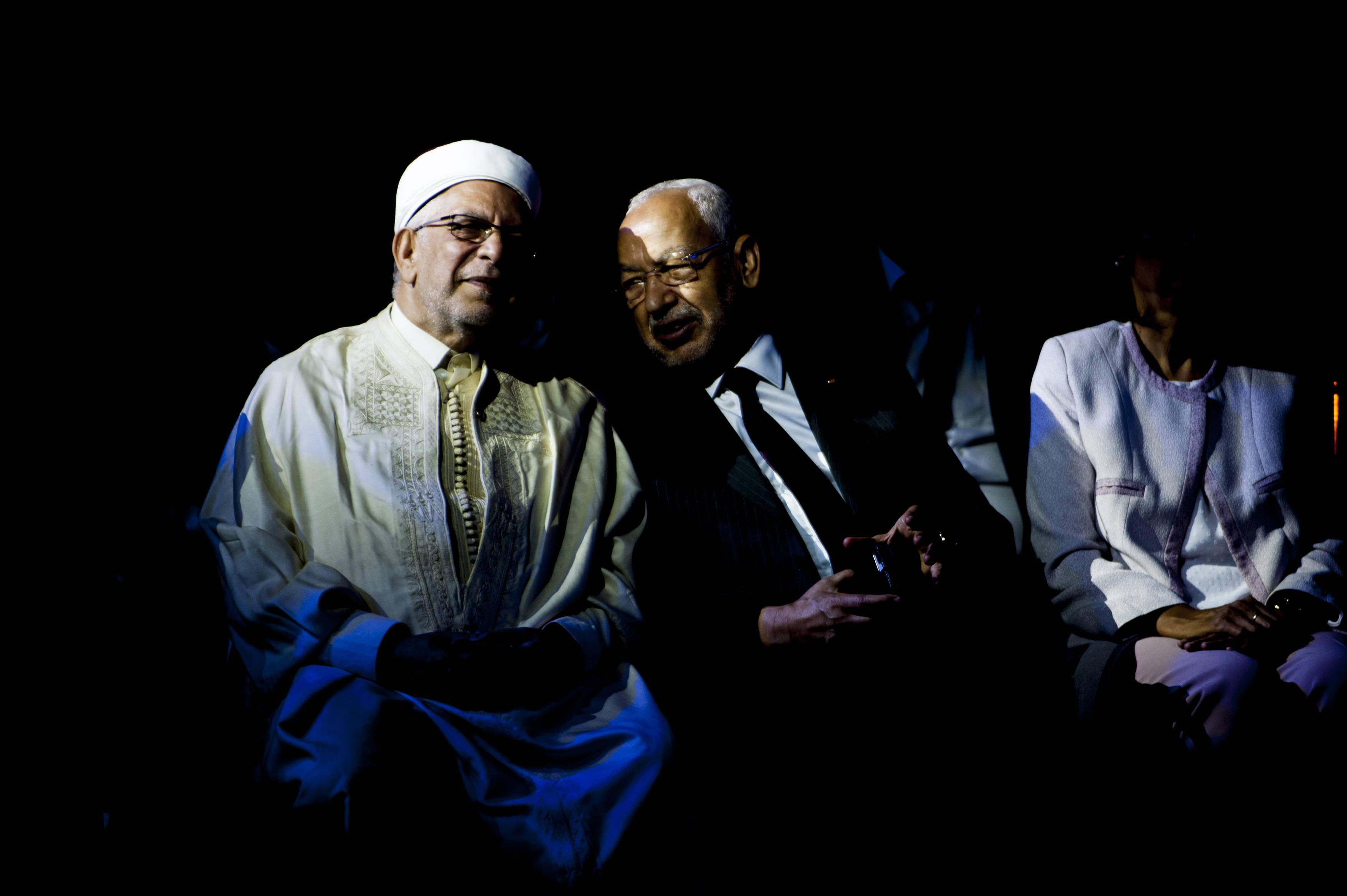 Rached Ghannouchi, le président d'Ennahdha (à droite), et le candidat du parti à l'élection présidentielle, Abdelfattah Mourou, vendredi 30 août 2019 à Tunis (image d'illustration).