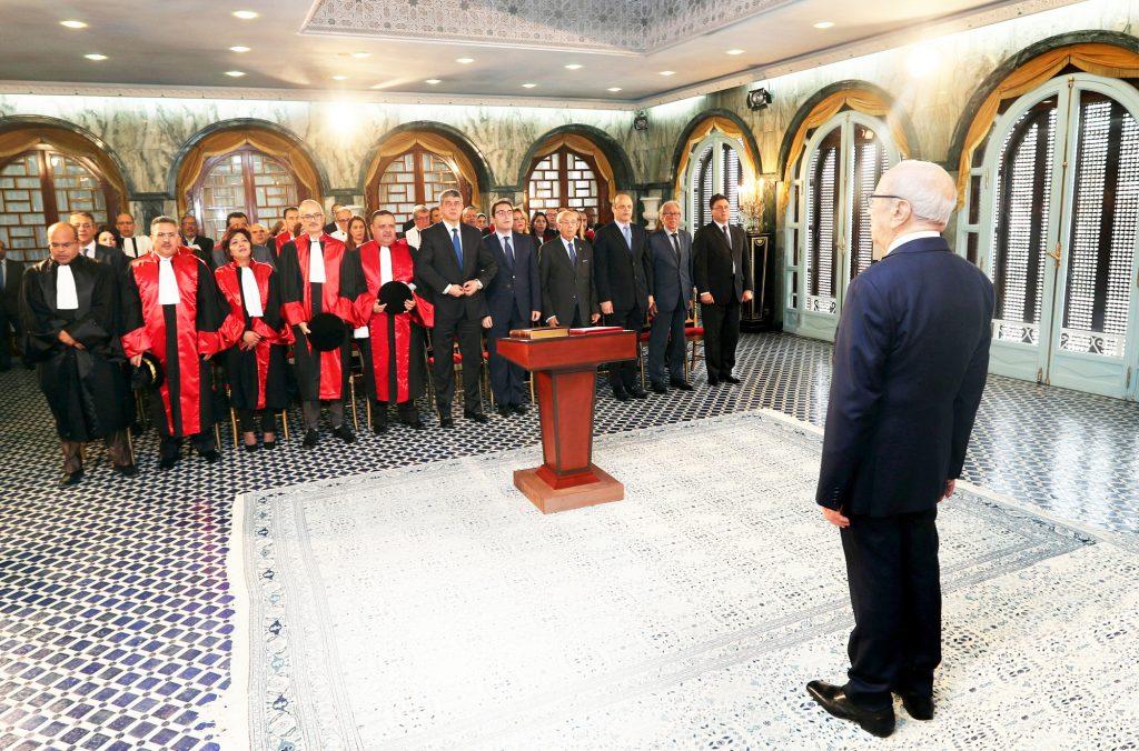 Réunion du Président Beji Caïd Essebsi avec les magistrats le 10 décembre 2016 au Palais de Carthage