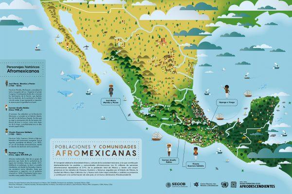 Carte des populations Afro-descendantes au Mexique.