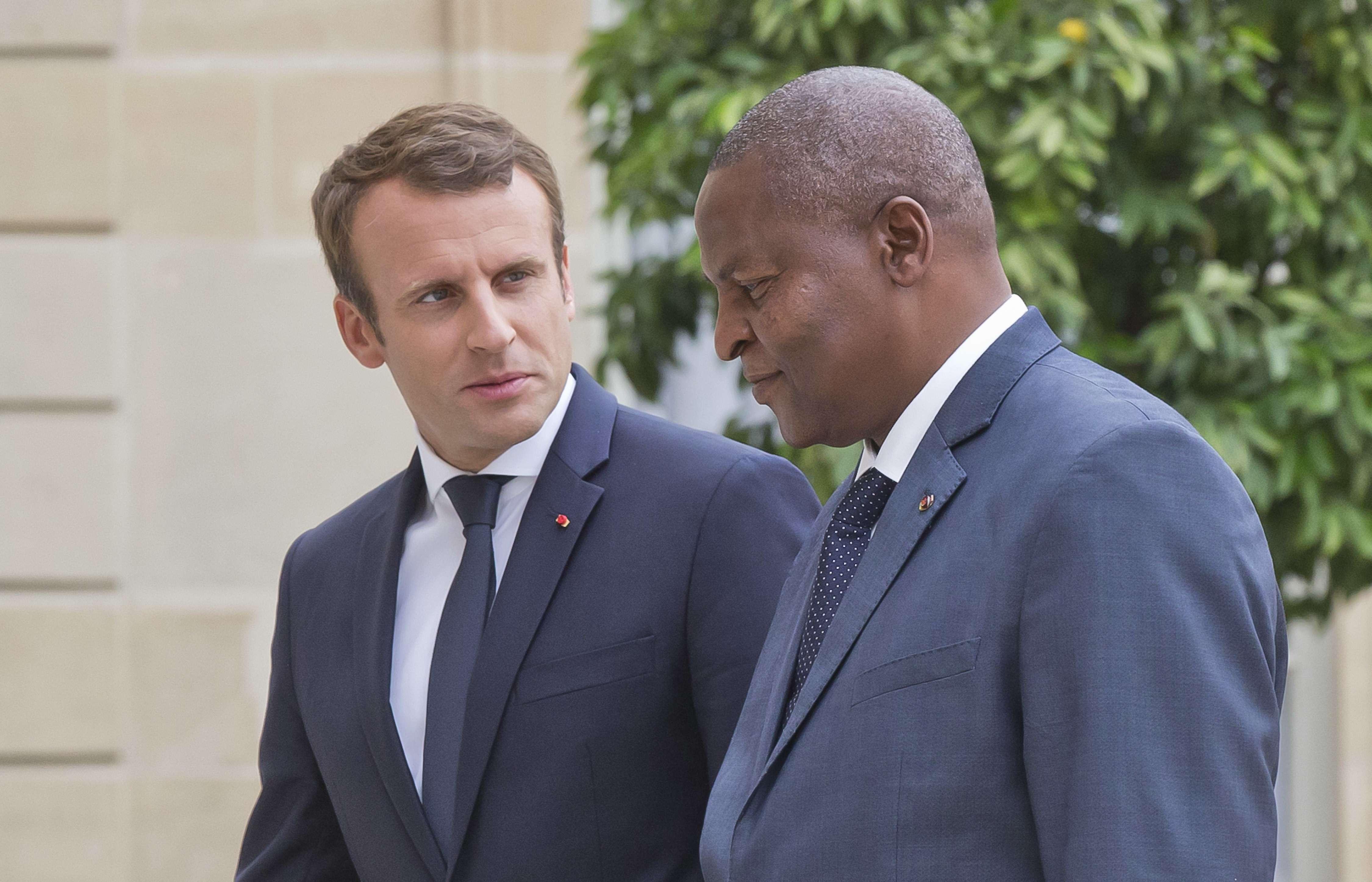 Emmanuel Macron et Faustin Archange Touadéra, lors d'une rencontre à l'Élysée en septembre 2017 (archives).