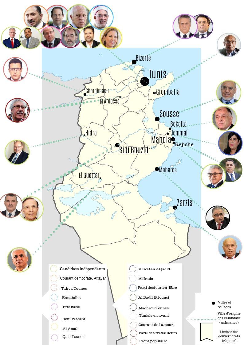 Parmi les candidats à l'élection présidentielle du 15 septembre, dix candidats sur 26 proviennent de la capitale Tunis.
