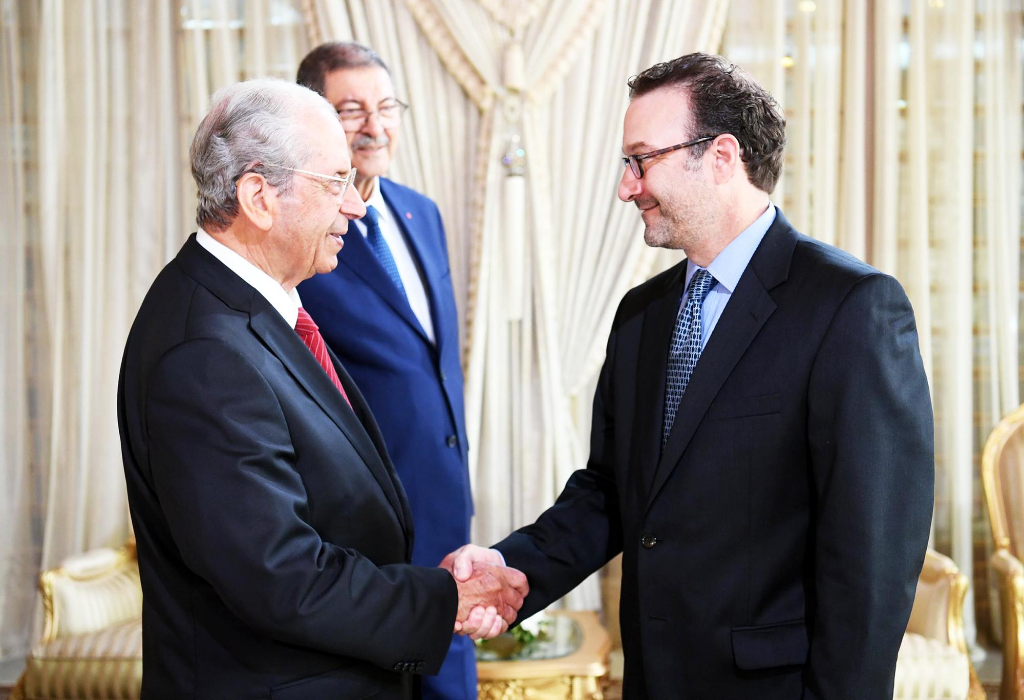 Mohamed Ennaceur et David Schenker au palais de Carthage, le 9septembre.