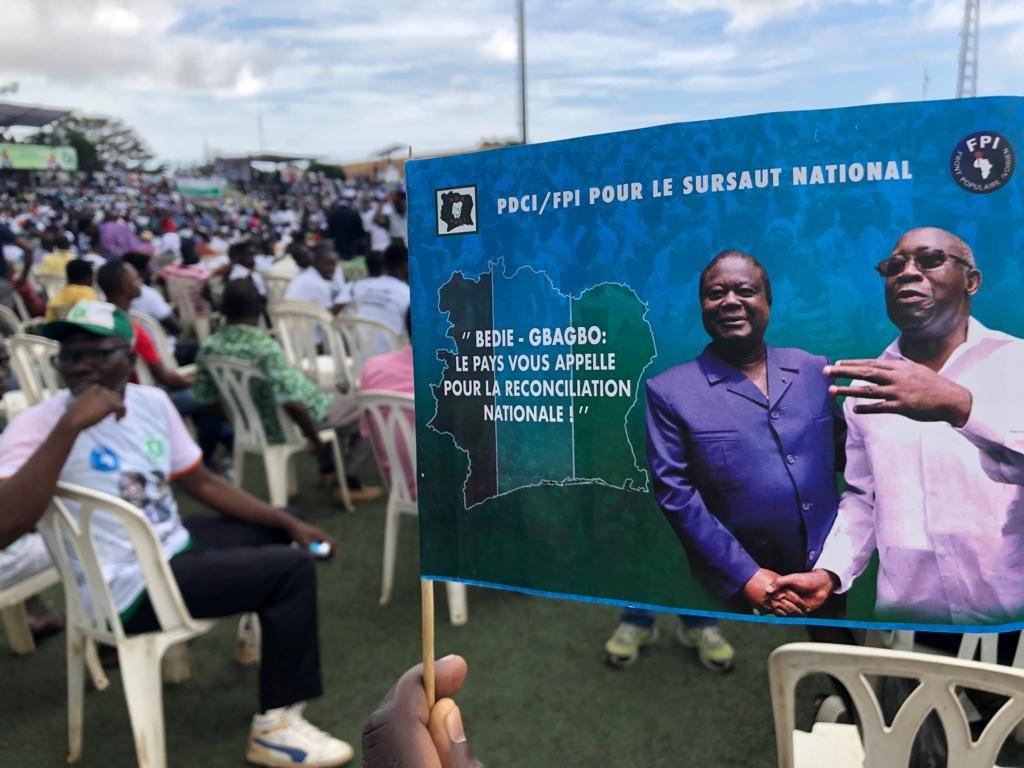 Lors du meeting commun du FPI et du PDCI, à Abidjan le samedi 14 septembre 2019.