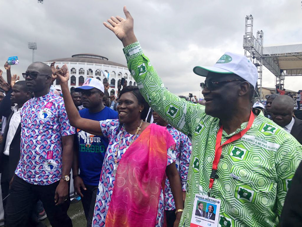 Simone Gbagbo, du FPI, et Maurice Kakou Guikahué, du PDCI, ensemble lors du meeting commun à Abidjan le 14 septembre 2019.
