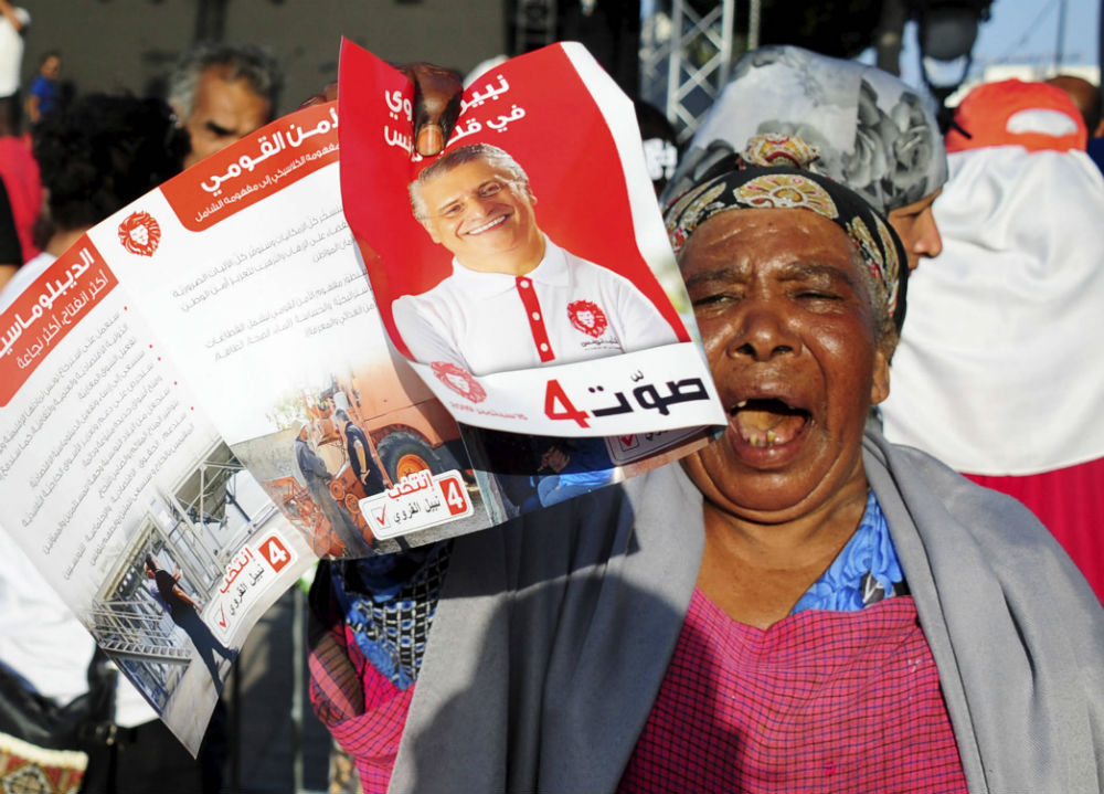 Une militante de Nabil Karoui, candidat à la présidentielle en Tunisie, lors d'un meeting le 13 septembre 2019.