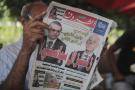 La une d'un journal tunisien, au lendemain du premier tour du scrutin présidentiel à l'issue duquel les résultats partiels donnaient Kaïs Saïed et Nabil Karoui en tête.