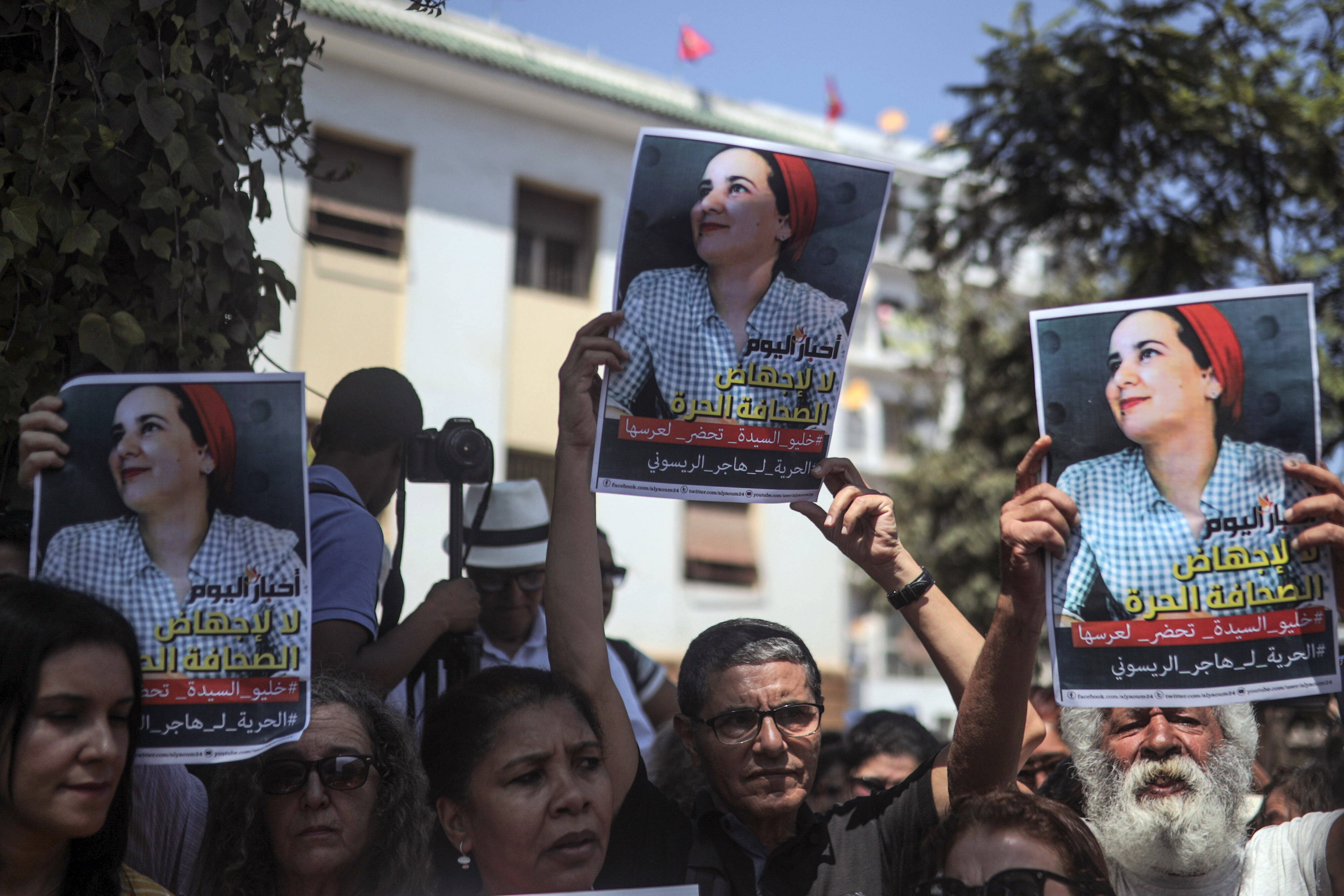 Des Marocains se sont mobilisés pour soutenir Hajar Raïssouni, lundi 9 septembre 2019 à Rabat.