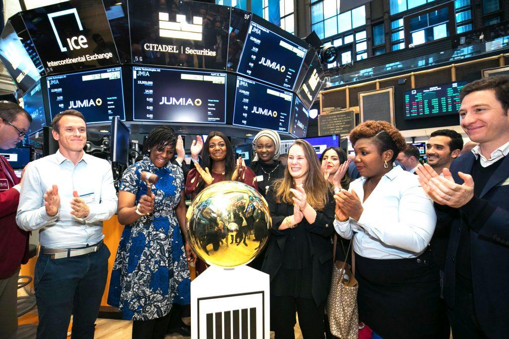 Les cofondateurs Sacha Poignonnec (à g.) et Jérémy Hodara (à dr.), lors de la première cotation de Jumia au New York Stock Exchange.