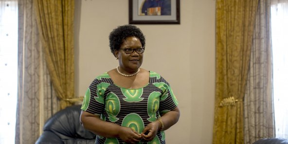 Joice Mujuru, a celebrated freedom fighter  who served as a vice president under President Robert Mugabe of Zimbabwe, and was destined, it seemed, to succeed him, during an interview at her home in Harare, Zimbabwe, April 27, 2016. As the current battle to succeed the 92-year-old Mugabe intensifies, Mujuru sees a political opening, vowing to take power as president in the 2018 election under the banner of her own party, Zimbabwe People First.   PROPERTY ZIMBABWE GOVERNMENT WAR INVASION FARM BATTLE HISTORY LAND© JOAO SILVA/The New York Times-REDUX-REA
