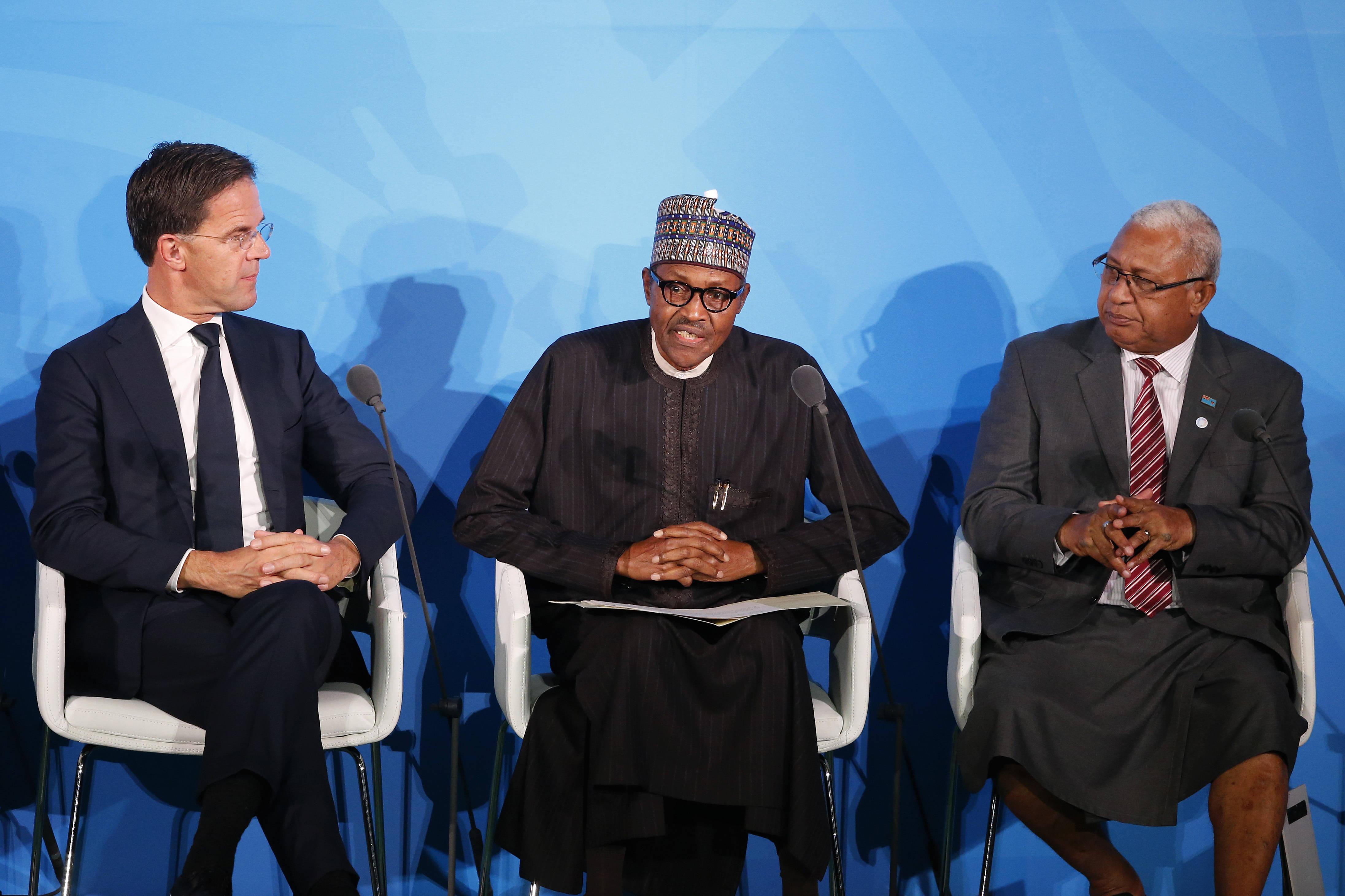 Le président nigérian Muhammadu Buhari (au centre) lors du sommet sur le climat de l'ONU, le 23 septembre 2019.