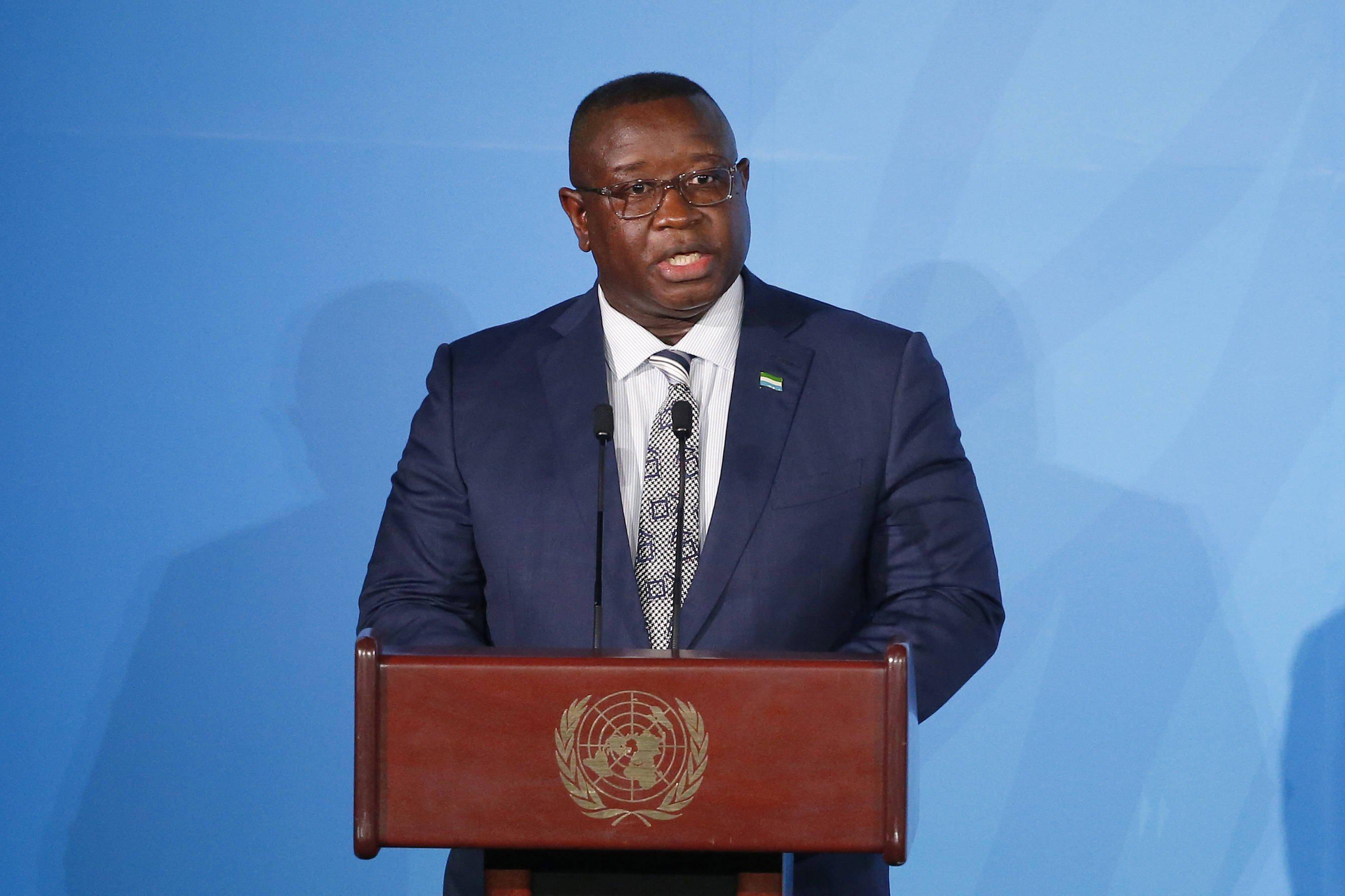Julius Maada Bio lors du sommet sur le climat de l'ONU, le 23 septembre 2019.
