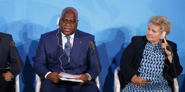 Le président Félix Tshisekedi (à gauche) lors du sommet sur le climat de l'ONU, le 23 septembre 2019.