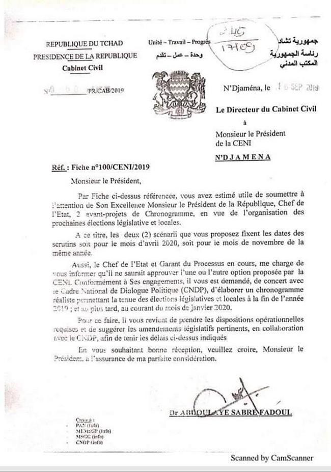 Lettre d'Abdoulaye Sabre Fadoul à la Ceni.