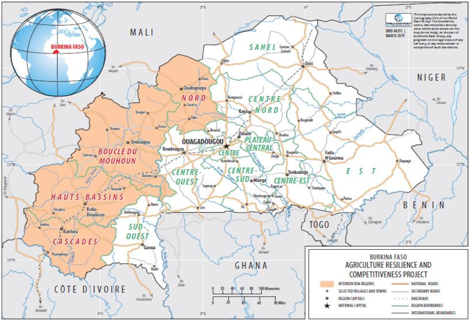 Carte du Projet de résilience et de compétitivité agricole (PReCA)