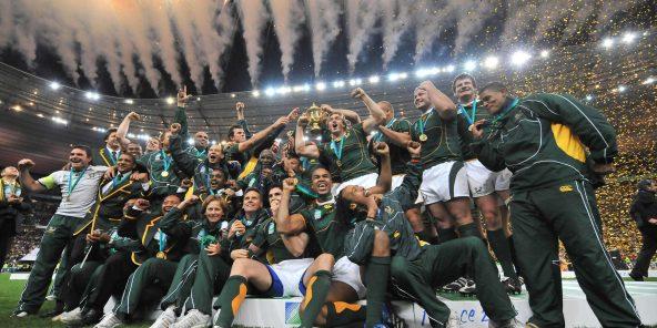 Les Sud-Africains célèbrent leur victoire lors de la coupe du monde de rugby de 2007.