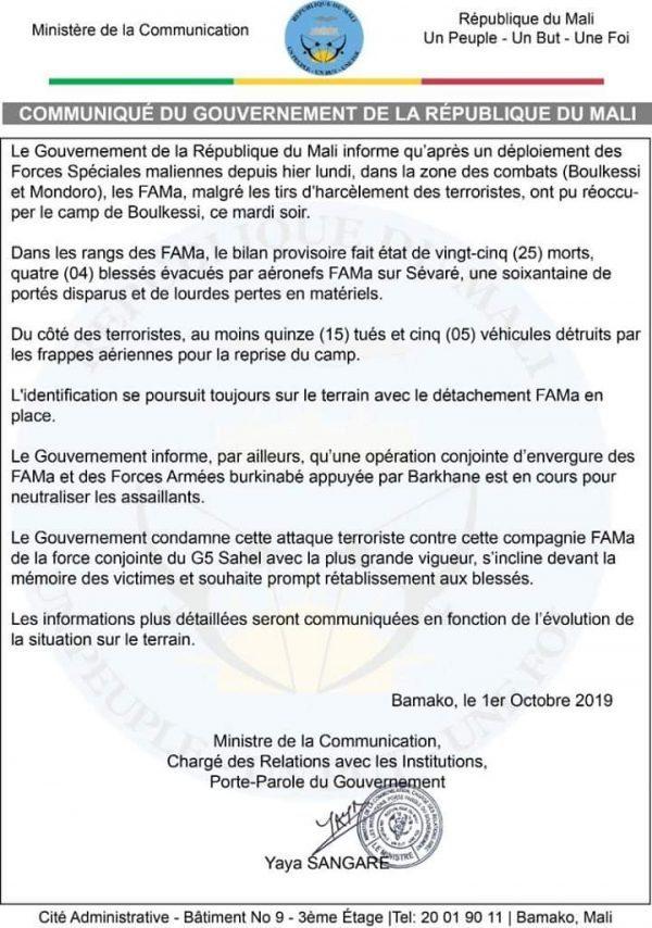 Communiqué du gouvernement de la République du Mali, 1er octobre 2019
