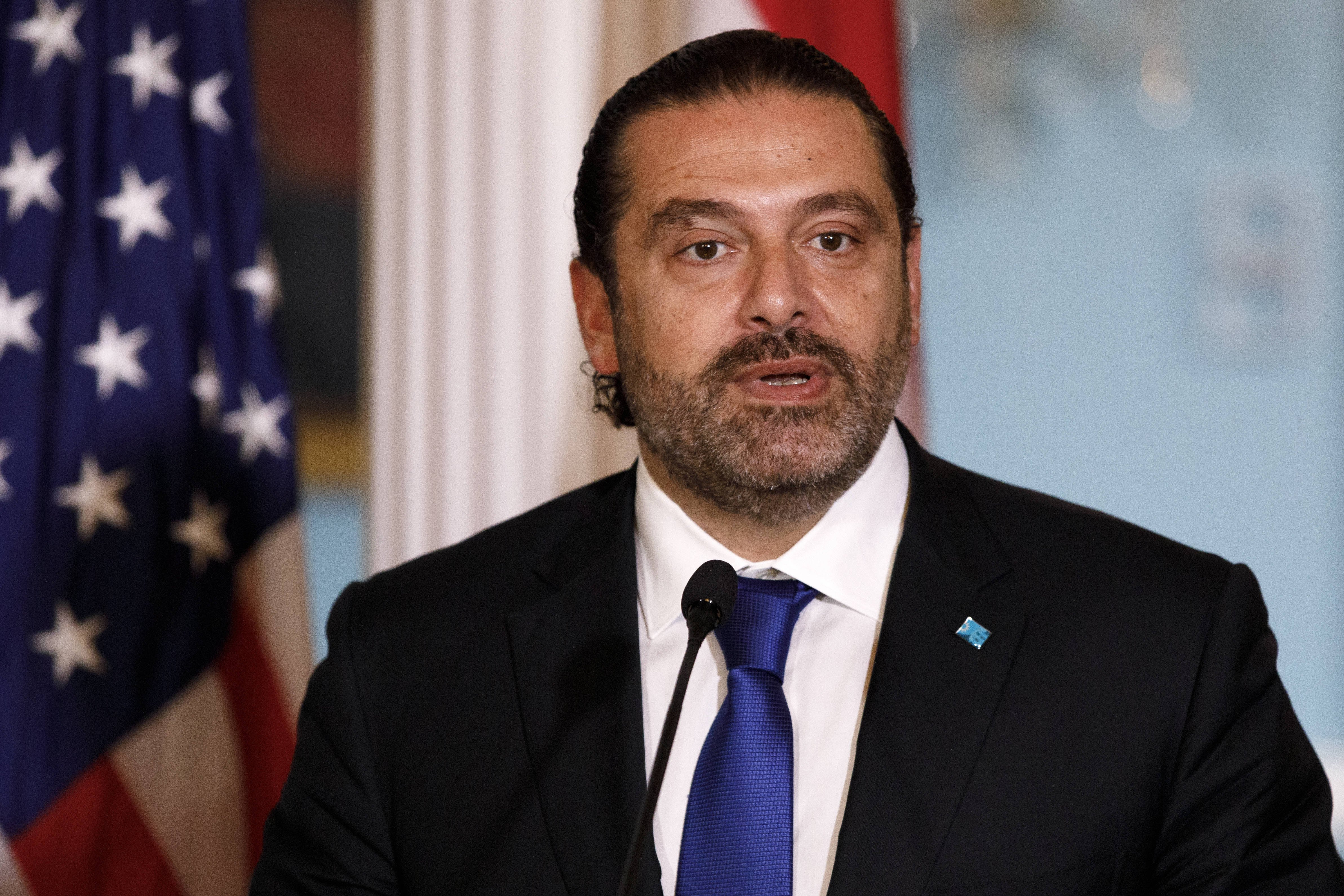 The Lebanese Prime Minister Saad Hariri at a press conference with the us Secretary of state Mike Pompeo, the 15. august 2019.