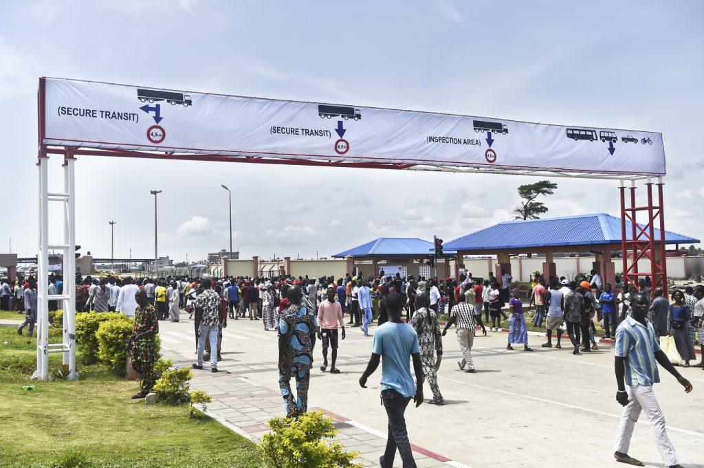 Le poste-frontière de Sèmè-Kraké, entre le Bénin et le Nigeria, le jour de son inauguration, le 23octobre 2018.