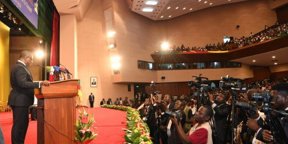 Joseph Dion Ngute, le Premier ministre camerounais, lors de l'ouverture du dialogue national à Yaoundé, le 30 septembre 2019.