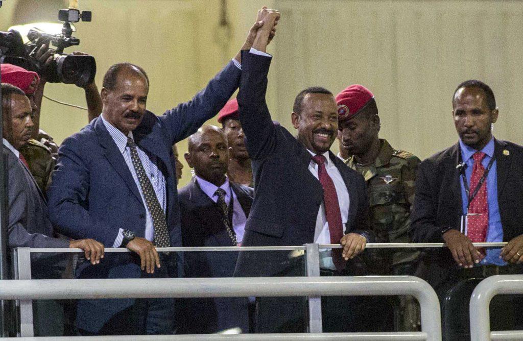 Le président érythréen Isaias Afwerki et le Premier ministre éthiopien Abiy Ahmed à Addis-Abeba, le 15 juillet 2018.