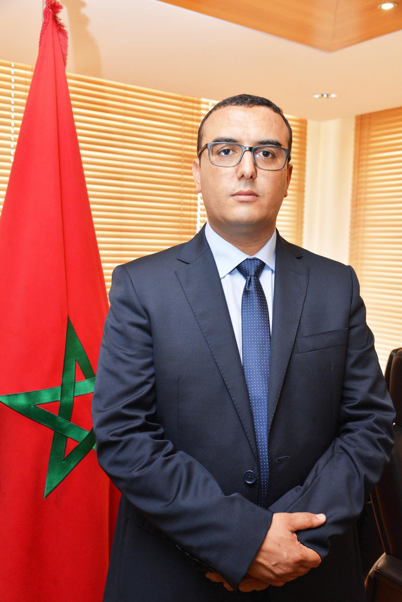 Portrait de Mohamed Amekraz, nouveau ministre du Travail et de l'Insertion professionnelle, lors de la de passation de pouvoir avec son prédécesseur, jeudi 10 octobre 2019 à Rabat.