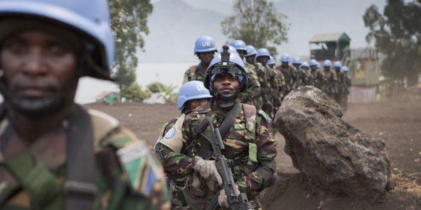 Des casques bleus tanzanien lors d'un entraînement dans le Nord-Kivu, en 2013.
