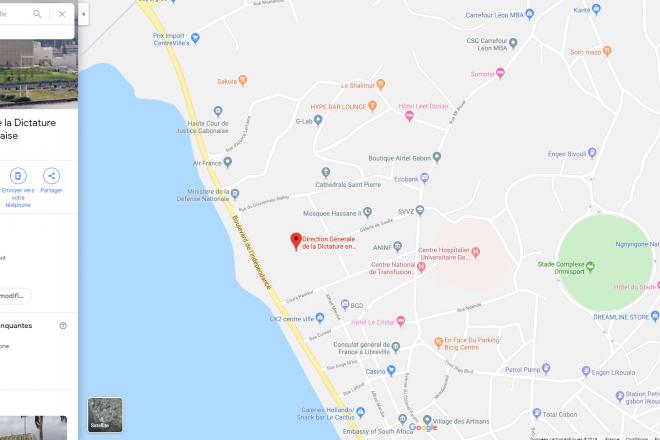 """Gabon : quand Google Maps change le nom du palais présidentiel en """" Direction générale de la dictature """""""