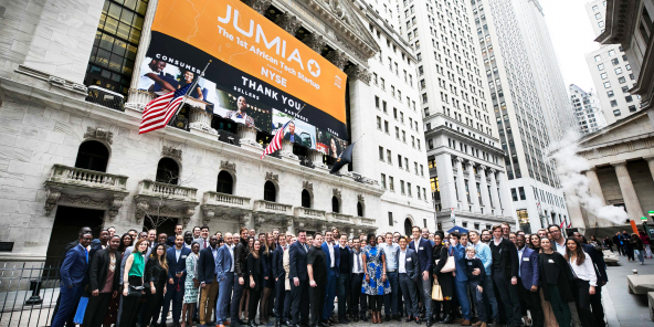 Introduction de Jumia Technologies sur le New York Stock Exchange, en avril 2019.