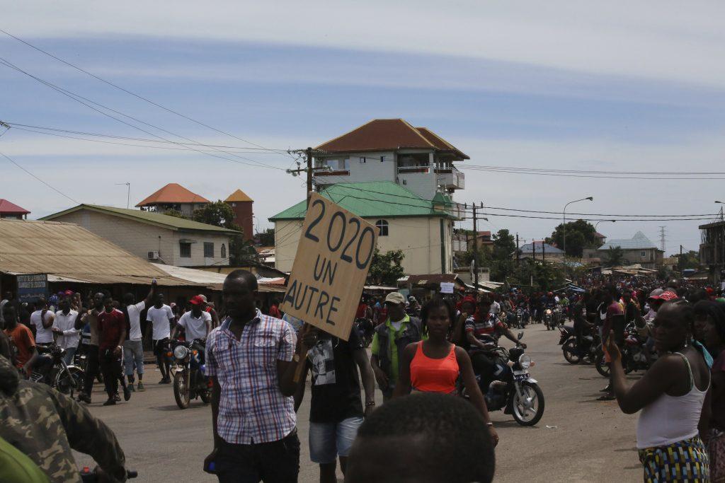 Des manifestants à Conakry, le 24 octobre 2019.