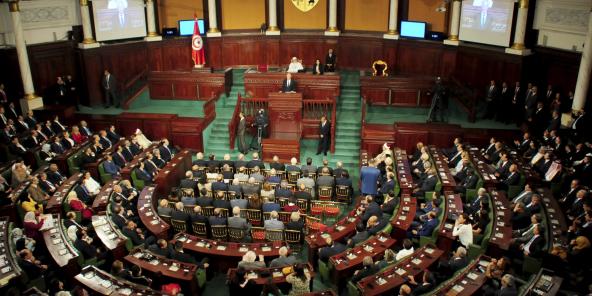 Le président tunisien nouvellement élu, Kais Saied, s'exprimera lors de la cérémonie d'investiture, à Tunis, le mercredi 23 octobre 2019.