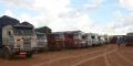 Des camions stationnés à Maradi, au Niger, après la fermeture de la frontière avec le Nigeria, le 20 août 2019.