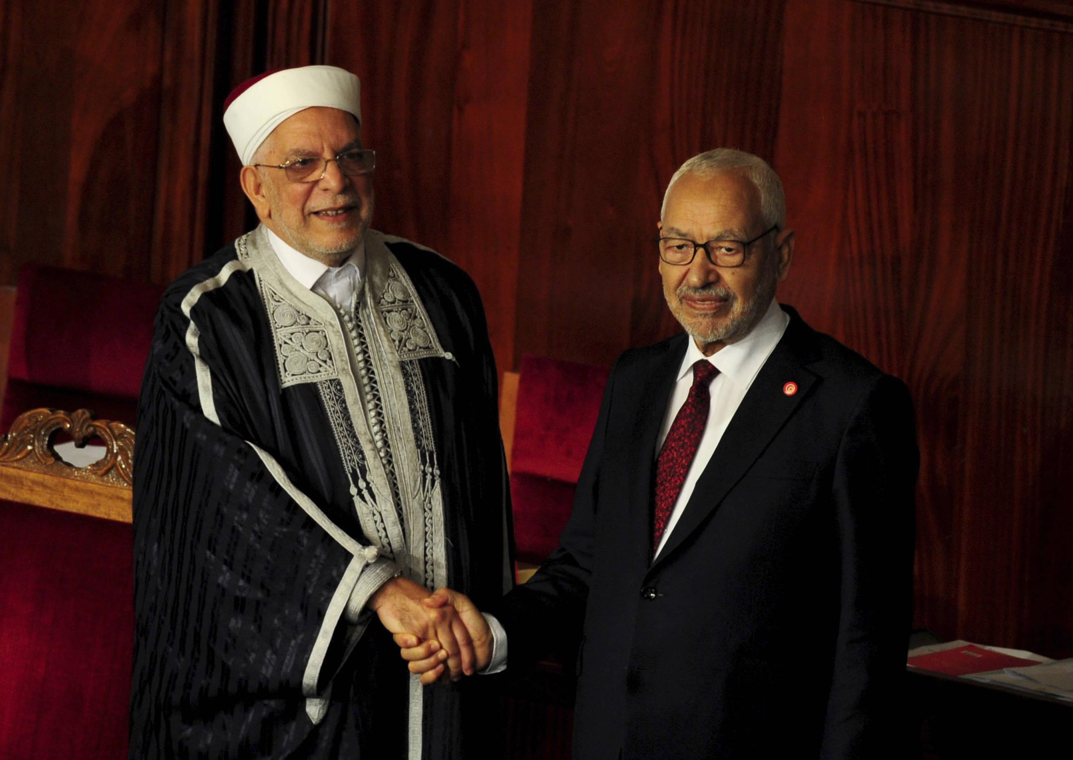 Le président sortant du Parlement Abdelfattah Mourou et Rached Ghannouchi, le 13 novembre 2019 à Tunis.