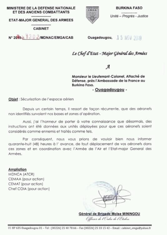 Le courrier adressé à l'attaché de défense à l'ambassade de France par le chef d'état-major burkinabè, le 15 novembre 2019.