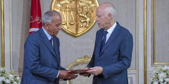 Le président Kaïs Saïed (à droite) recevant le Premier ministre Habib Jemli, le 15 novembre à Tunis (image d'illustration).