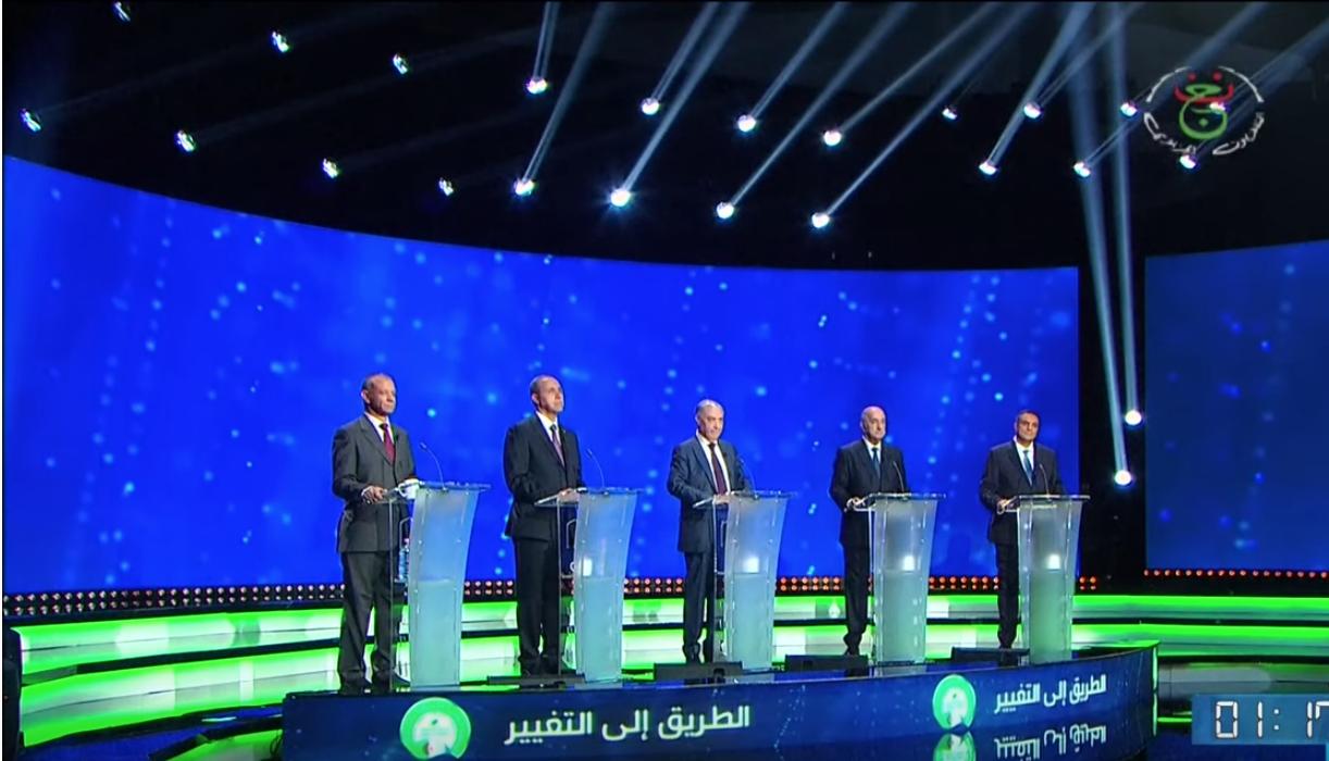 Les cinq candidats à l'élection présidentielle algérienne lors du débat télévisé.
