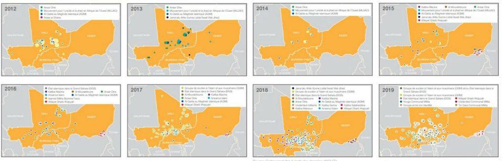 Évolution de la menace terroriste de 2012 à 2019.