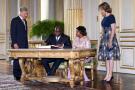 Félix Tshisekedi, accompagné de son épouse Denise, aux côtés de la reine Mathilde et du prince philippe, le 17 juillet 2019 à Bruxelles.
