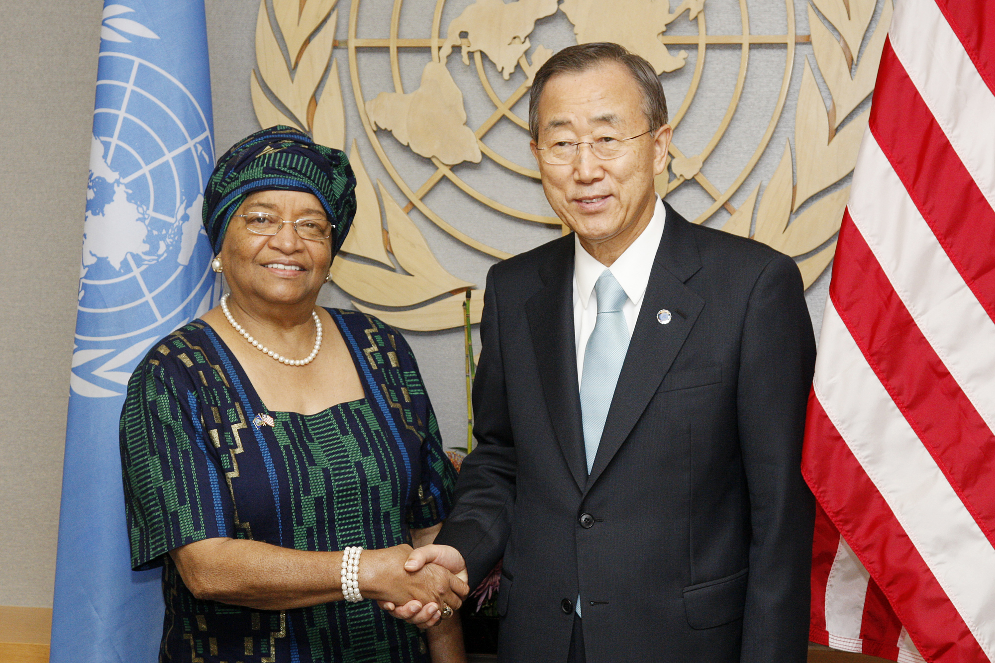 SG Meeting: Secretary-General Ban Ki-Moon meets with H.E. Mrs. Ellen Johnson-Sirleaf, President of Liberia.