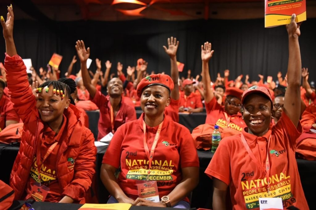 Lors du congrès des EFF à l'issue duquel Julius Malema a été reconduit à la tête du parti, le 14 décembre 2019.